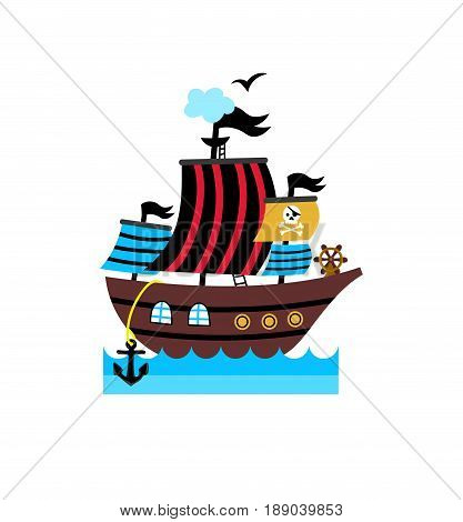 Pirate icon with vessel. Children drawing of pirate accessories vector illustration isolated on white background.