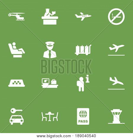 Set Of 16 Plane Icons Set.Collection Of Chopper, Air Traffic Controller, Aviator And Other Elements.