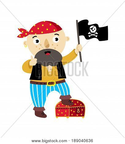 Pirate character with jolly roger flag icon. Children drawing of pirate concept vector illustration isolated on white background.