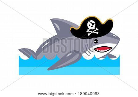 Shark in pirate hat icon. Children drawing of pirate concept vector illustration isolated on white background.