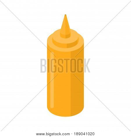 Mustard Bottle Fastfood. Yellow Meal Isolated On White Background