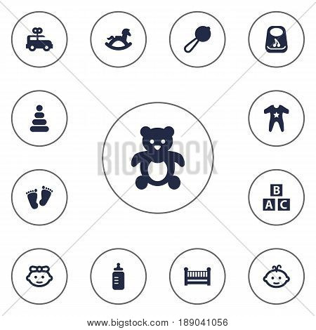 Set Of 13 Baby Icons Set.Collection Of Toy, Breastplate, Girl And Other Elements.