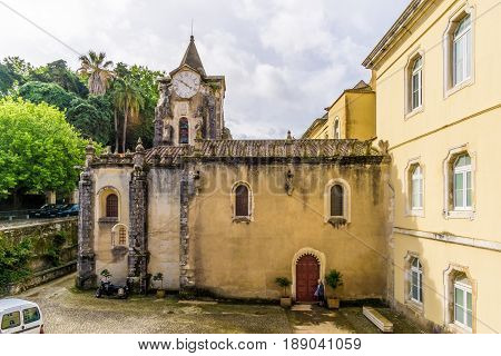 CALDAS DE RAINHA,PORTUGAL - MAY 11,2017 - View at the church of Our Lady Populace in Caldas de Rainha. Caldas da Rainha is best known for its sulphurous hot springs and clay pottery.