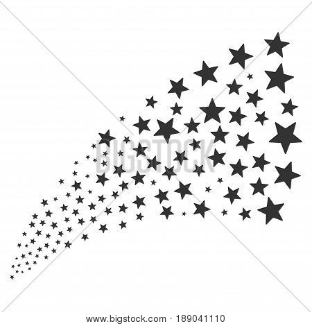 Fireworks Star source stream. Vector illustration style is flat gray iconic symbols on a white background. Object fireworks fountain organized from scattered pictograms.