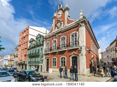 CALDAS DE RAINHA,PORTUGAL - MAY 11,2017 - View at the city hall of Caldas de Rainha. Caldas da Rainha is best known for its sulphurous hot springs and clay pottery.