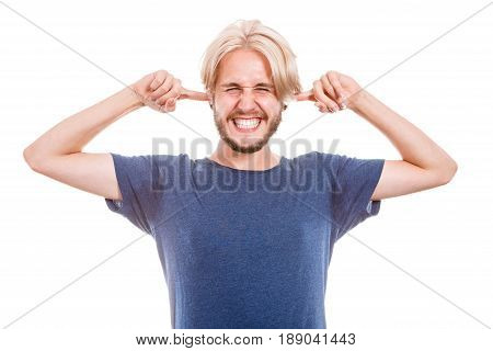 Man Plug Closing Ears With Fingers