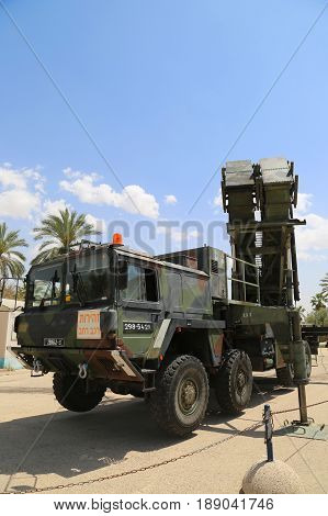 HATZERIM, ISRAEL - MAY 2, 2017: A Patriot  surface-to-air missile system of the Israeli  Air Force on display at The Israeli Air Force Museum.
