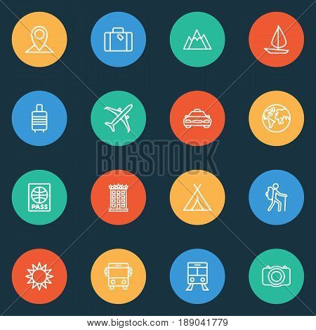 Exploration Outline Icons Set. Collection Of Certificate, Traveler, Tram And Other Elements. Also Includes Symbols Such As Certificate, Taxicab, Shed.