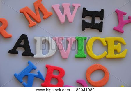 word advice on a  abstract colorful ,background