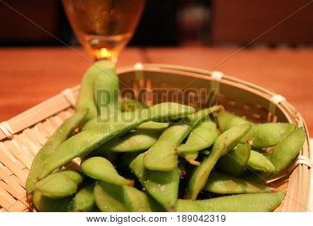 Boiled Edamame Beans or Japanese Soybeans in the Pod for Appetizer