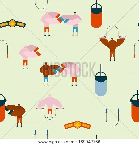 Boxing Gym Pattern. Hall Boxing Background And Ornament. Boxer Training. Sparring Fight. Skipping Ro