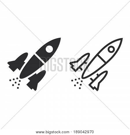 Rocket Line Icon, Spacecraft Outline And Solid Vector Sign, Linear And Full Pictogram Isolated On Wh