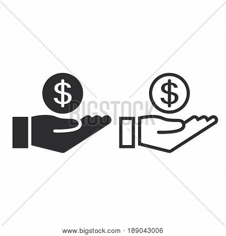 Coin In Hand Line Icon, Earnings Outline And Solid Vector Sign, Linear And Full Pictogram Isolated O