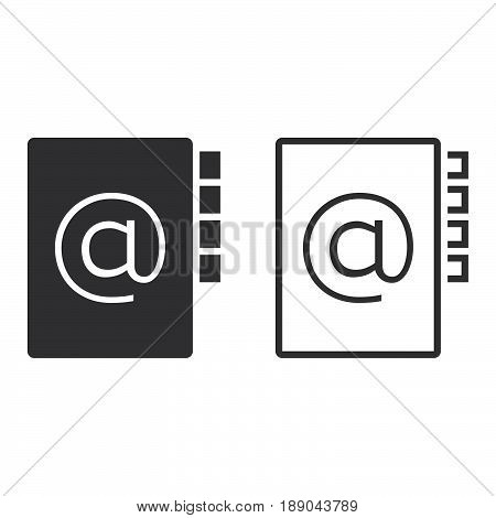 Address Book Line Icon, Outline And Solid Vector Sign, Linear And Full Pictogram Isolated On White,