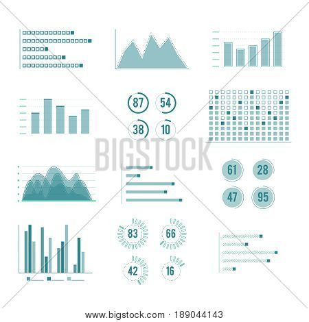 Vector charts and graphs. Line illustration set isolate on white background. Business chart statistic report, diagram finance profit