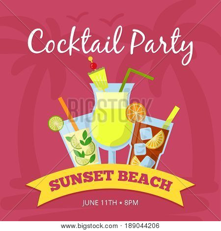 Party background illustration with different cocktails set. Vector poster. Drink tropical cocktail banner, sunset beach with fresh beverage