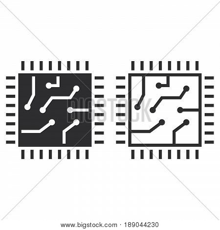 Chip Line Icon, Processor Outline And Solid Vector Sign, Linear And Full Pictogram Isolated On White