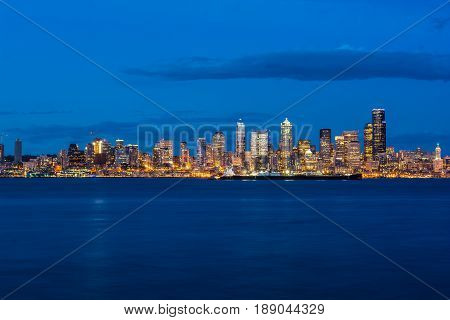 Seattle waterfront and Elliott Bay viewed from West Seattle