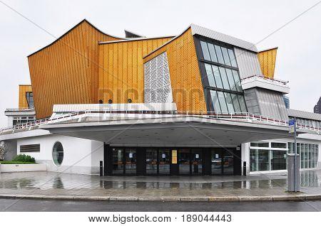 Berlin, Germany - April 12, 2017: Facade of Berlin Philharmonic building.