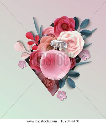 Beautiful realistic perfume bottle on the background of beautiful paper flowers. Beauty and cosmetics background. Use for advertising flyer banner leaflet.Template Vector.