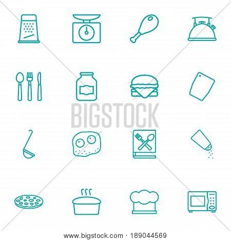 Set Of 16 Culinary Outline Icons Set.Collection Of Chicken Leg, Omelette, Kettle And Other Elements.
