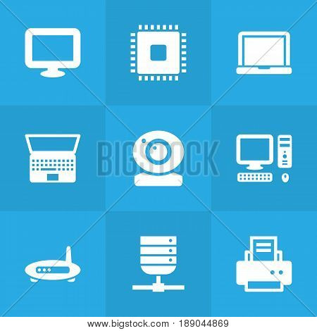 Set Of 9 Computer Icons Set.Collection Of Datacenter, Record, Display And Other Elements.