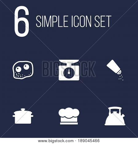 Set Of 6 Culinary Icons Set.Collection Of Eggs, Teapot, Saucepan And Other Elements.