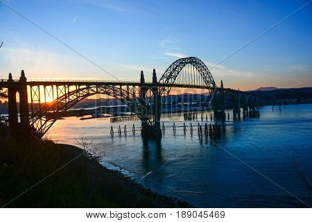 Columbia River crossing at Astoria OR at sunset