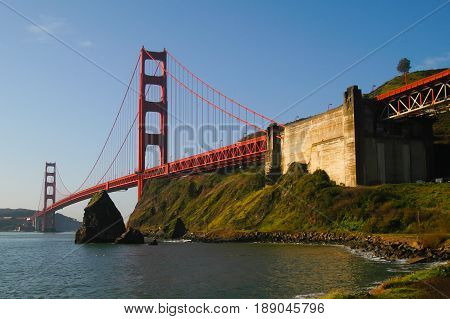 Golden Gate Bridge in early moring from Marin County end