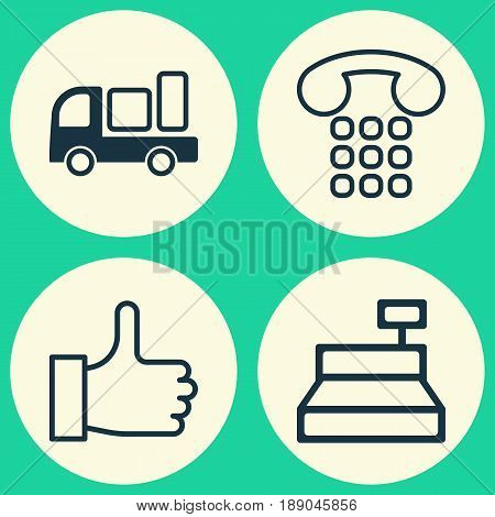 E-Commerce Icons Set. Collection Of Callcentre, Delivery, Till And Other Elements. Also Includes Symbols Such As Like, Delivery, Center.