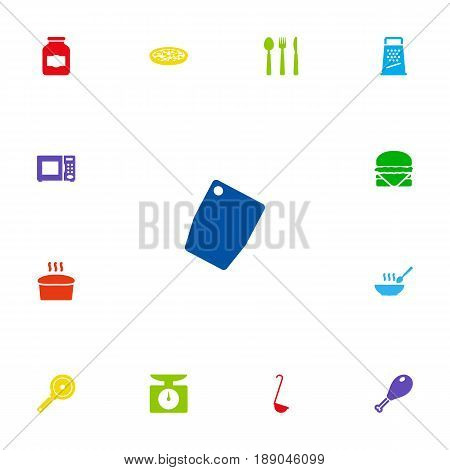 Set Of 13 Cooking Icons Set.Collection Of Silverware, Broth, Electronic Oven And Other Elements.