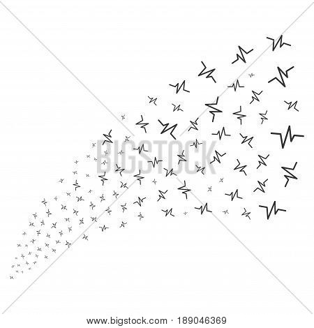 Pulse source stream. Vector illustration style is flat gray iconic symbols on a white background. Object fireworks fountain combined from random design elements.
