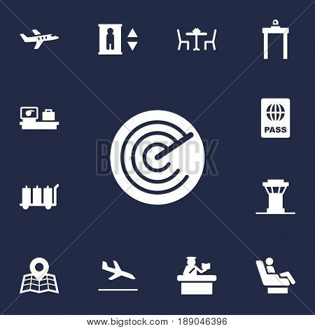 Set Of 13 Aircraft Icons Set.Collection Of Luggage Check, Passport, Radiolocator And Other Elements.