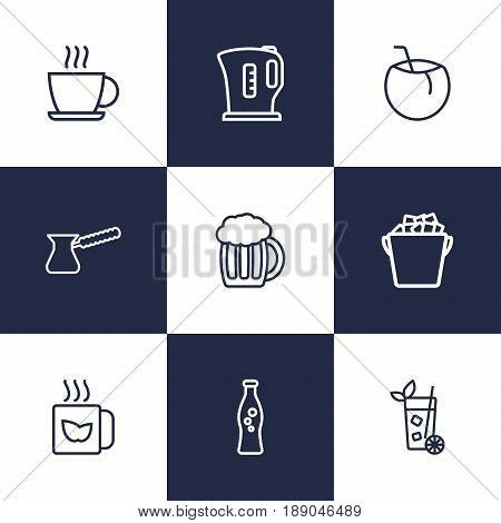 Set Of 9 Drinks Outline Icons Set.Collection Of Ice Bucket, Beer, Hot Drink And Other Elements.