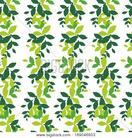Seamless pattern with horizontal stripes of green leaves of different shades