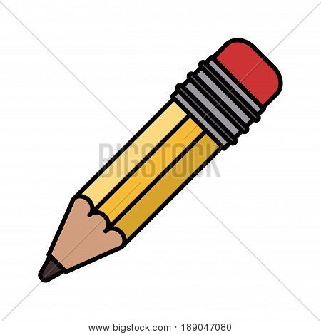 colorful silhouette image pencil with eraser vector illustration