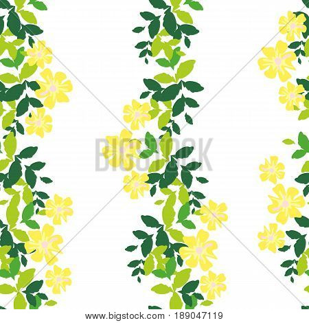 Seamless pattern with vertical stripes of green leaves and yellow flowers on a white background. Bright and rich plant texture for textiles and various designs. vector