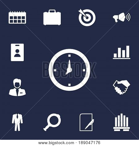 Set Of 13 Management Icons Set.Collection Of Id Card, Loupe, Time And Other Elements.