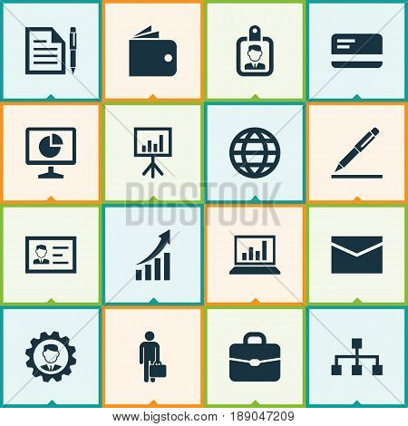 Trade Icons Set. Collection Of Statistics, Hierarchy, Earth And Other Elements. Also Includes Symbols Such As Wallet, Purse, Identification.