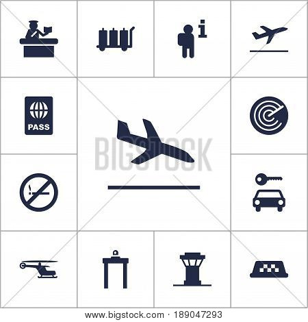 Set Of 13 Airplane Icons Set.Collection Of Metal Detector, Passport, Leaving And Other Elements.
