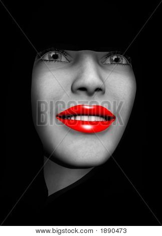 An image of a close up of a lady's head with red make up on her lips. poster