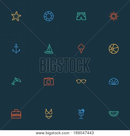 Hot Outline Icons Set. Collection Of Ship, Conch, Sea Star And Other Elements. Also Includes Symbols Such As Cocktail, Life, Shorts.