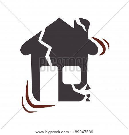 house earthquake desaster and natural destrution vector illustration