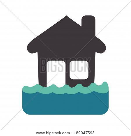 emergency house flood and natural disaster vector illustration