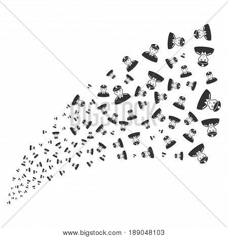Soldier source stream. Vector illustration style is flat gray iconic symbols on a white background. Object explosion fountain organized from scattered design elements.
