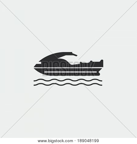 jet ski icon vector isolated on grey .