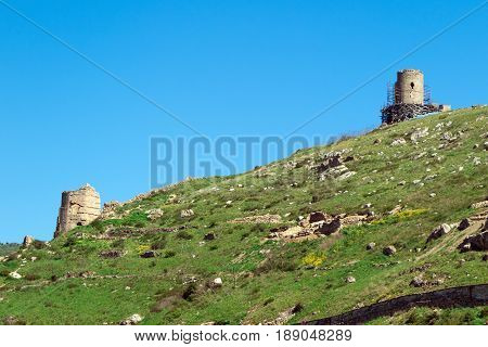 Balaklava Bay Sevastopol. The old military fortifications from the sea