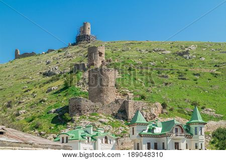 Balaklava Bay Sevastopol. The old military fortifications on the mountain