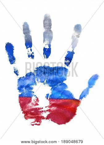 The imprint of the left hand of the Russian Federation flag colors gouache. Design holidays of Russia stamp