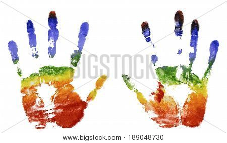 The imprint of the two hands of the rainbow colors gouache freedom